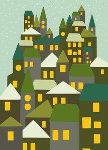 Winterkaart Stad Groen - Ansichtkaart