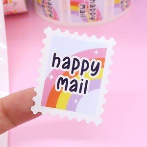 Happy Mail Postzegelvorm - Set van 5 Stickers