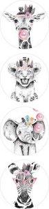 Lieve Dieren Roze - Set van 10 Stickers