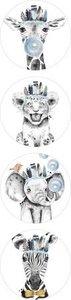 Lieve Dieren Blauw - Set van 10 Stickers