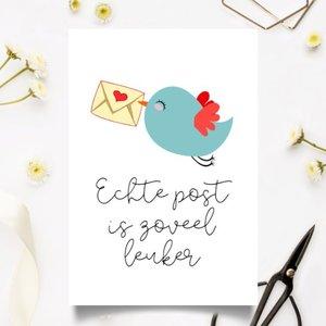 Echte post is zoveel leuker met Vogeltje - Ansichtkaart