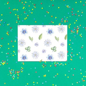 Bloempjes Blauw/Wit/Groen - Ansichtkaart