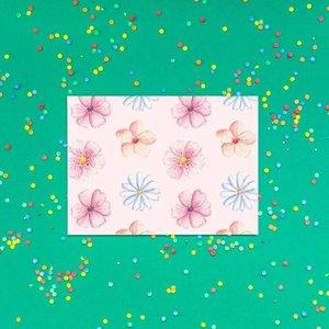 Bloempjes op Roze - Ansichtkaart