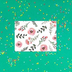 Bloempjes Groen/Roze - Ansichtkaart
