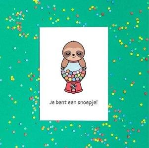 'Je bent een snoepje!' Schattige Luiaard - Ansichtkaart