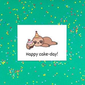 'Happy cake-day!' Schattige Luiaard - Ansichtkaart