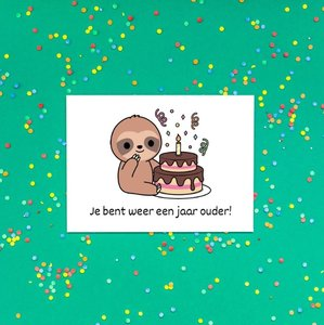 'Je bent weer een jaar ouder!' Schattige Luiaard - Ansichtkaart
