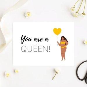 'You are a queen!' Vrouw met Ballon - Ansichtkaart