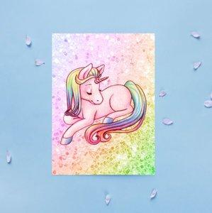 Regenboog Glitter Eenhoorn - Ansichtkaart