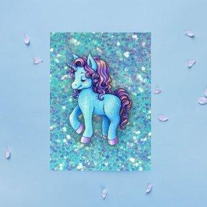 Blauwe Glitter Eenhoorn - Ansichtkaart
