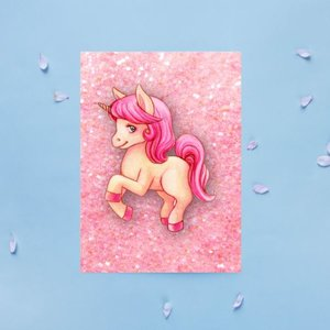 Roze Glitter Eenhoorn - Ansichtkaart