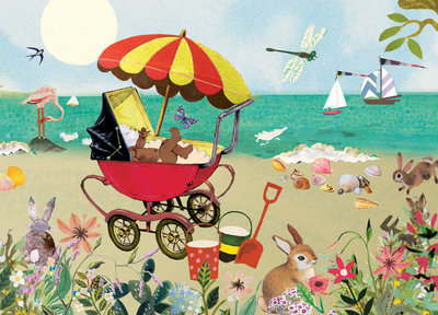 Strand en Baby - Ansichtkaart