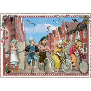 Fietsen Oud Hollands - Ansichtkaart