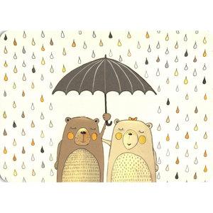 Beertjes Samen onder Paraplu - Ansichtkaart
