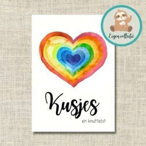 'Kusjes en knuffels!' Regenboog Hart - Ansichtkaart