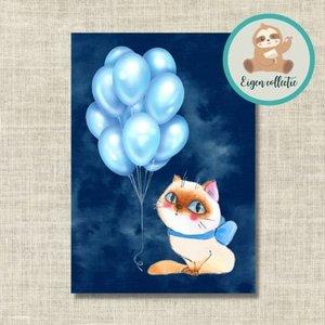 Kat met Ballonnen Blauw - Ansichtkaart
