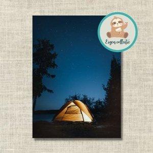Tent in de Nacht - Ansichtkaart