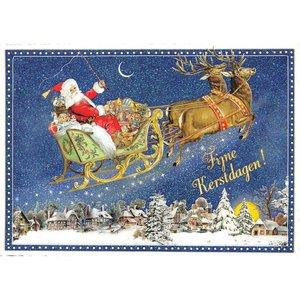 Fijne Kerstdagen! Kerstman in Slee met Rendieren - Ansichtkaart