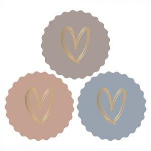 Hartjes Herfst Pastel Kleuren - Set van 10 Stickers