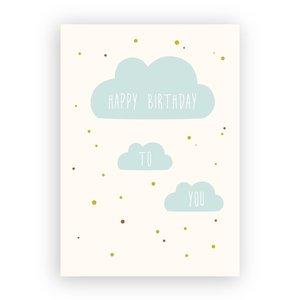 Happy Birthday to You Wolkjes - Ansichtkaart met Envelop