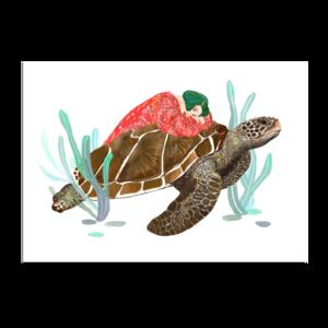Meisje met Schildpad - Ansichtkaart a5