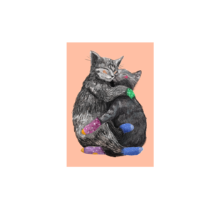 Samen slapen Katten - Ansichtkaart