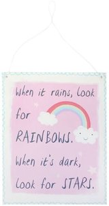 Pink Rainbow Metal Sign When it rains, look for rainbows. When it's dark, look for stars. Regenboog Plakkaat