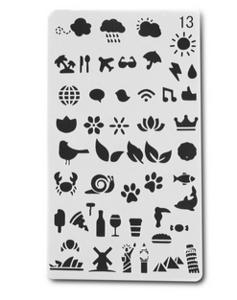 Stencil Iconen Natuur en Reizen